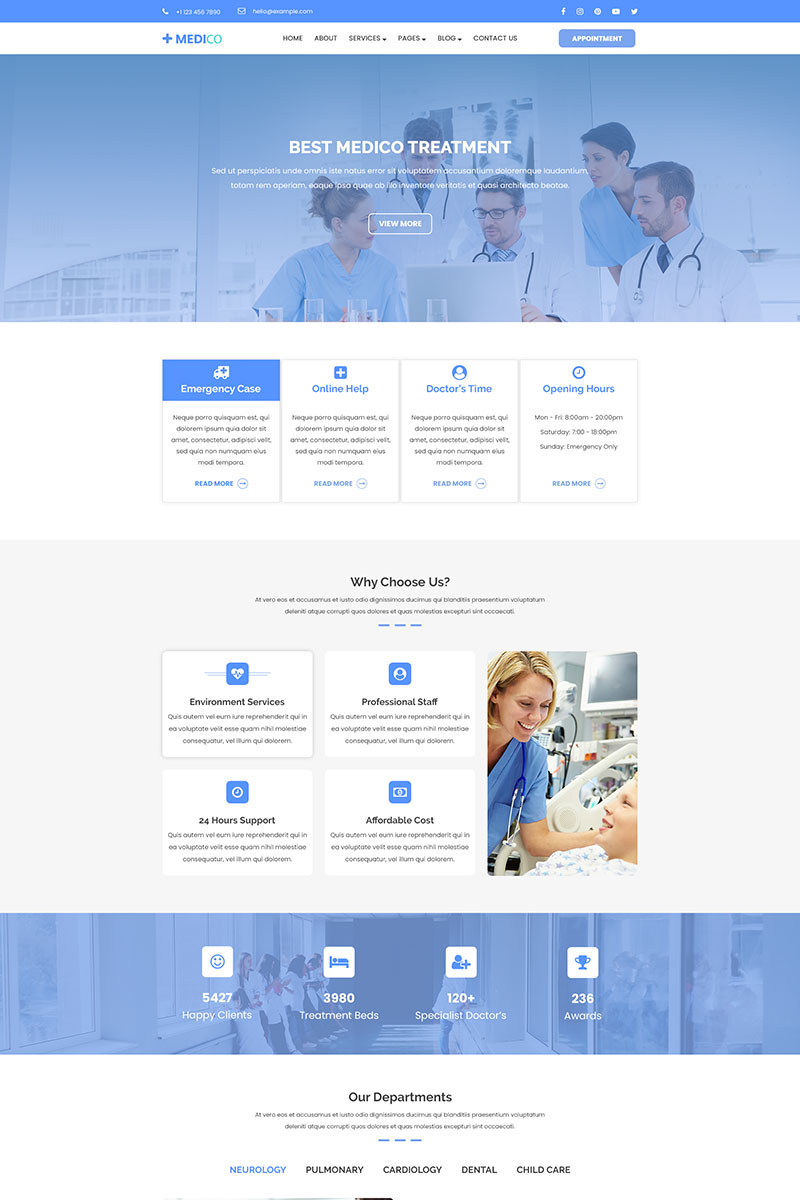 Reszponzív Medico | Health, Medical, Clinic & Hospital PSD sablon 79213
