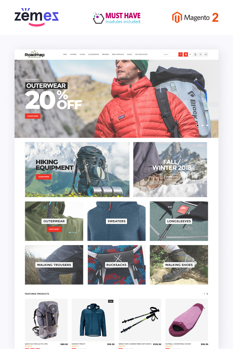 """Roadmap - Clean eCommerce Outdor Sports Gear"" Magento模板 #79253"