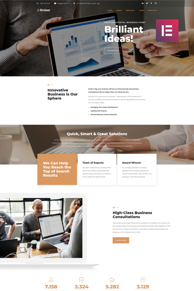 """Smixor - Business Multipurpose Modern Elementor"" 响应式WordPress模板 #79224 - 截图"