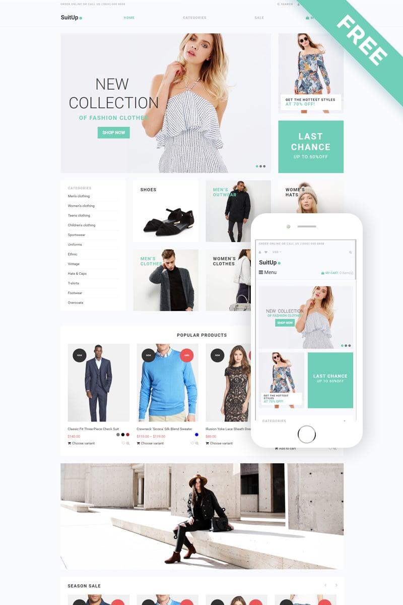 """SuitUP - Fashion Store Free Elegant"" - адаптивний Shopify шаблон №79265"