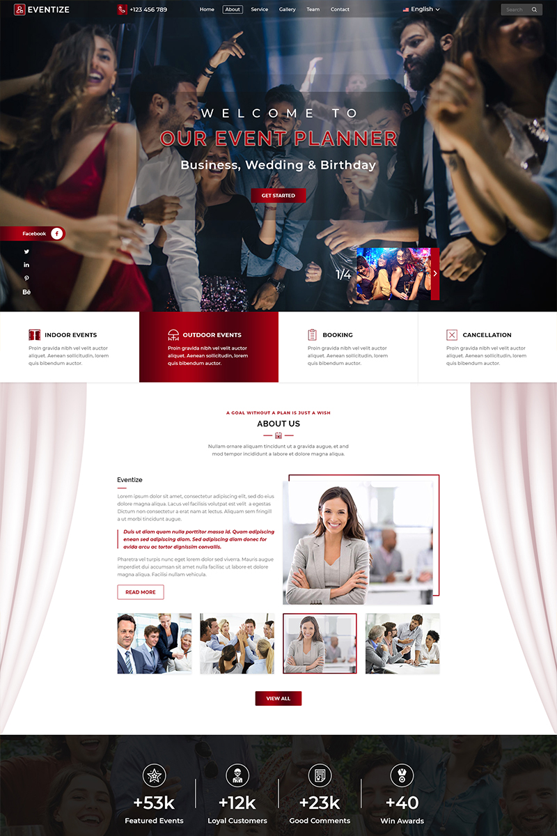 "Tema PSD Responsive #79278 ""Eventize Events & Party"""