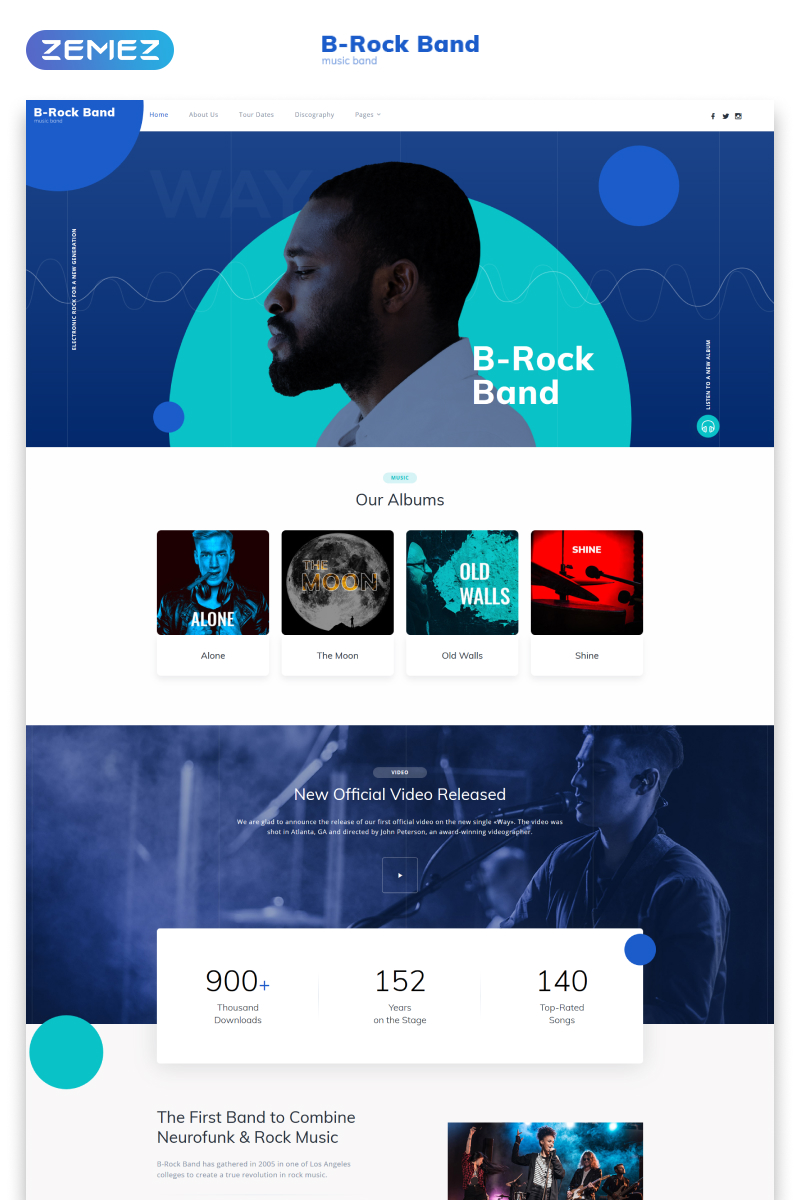 """""""B-Rock Band - Music Band Multipage Creative HTML"""" Responsive Website template №79340"""