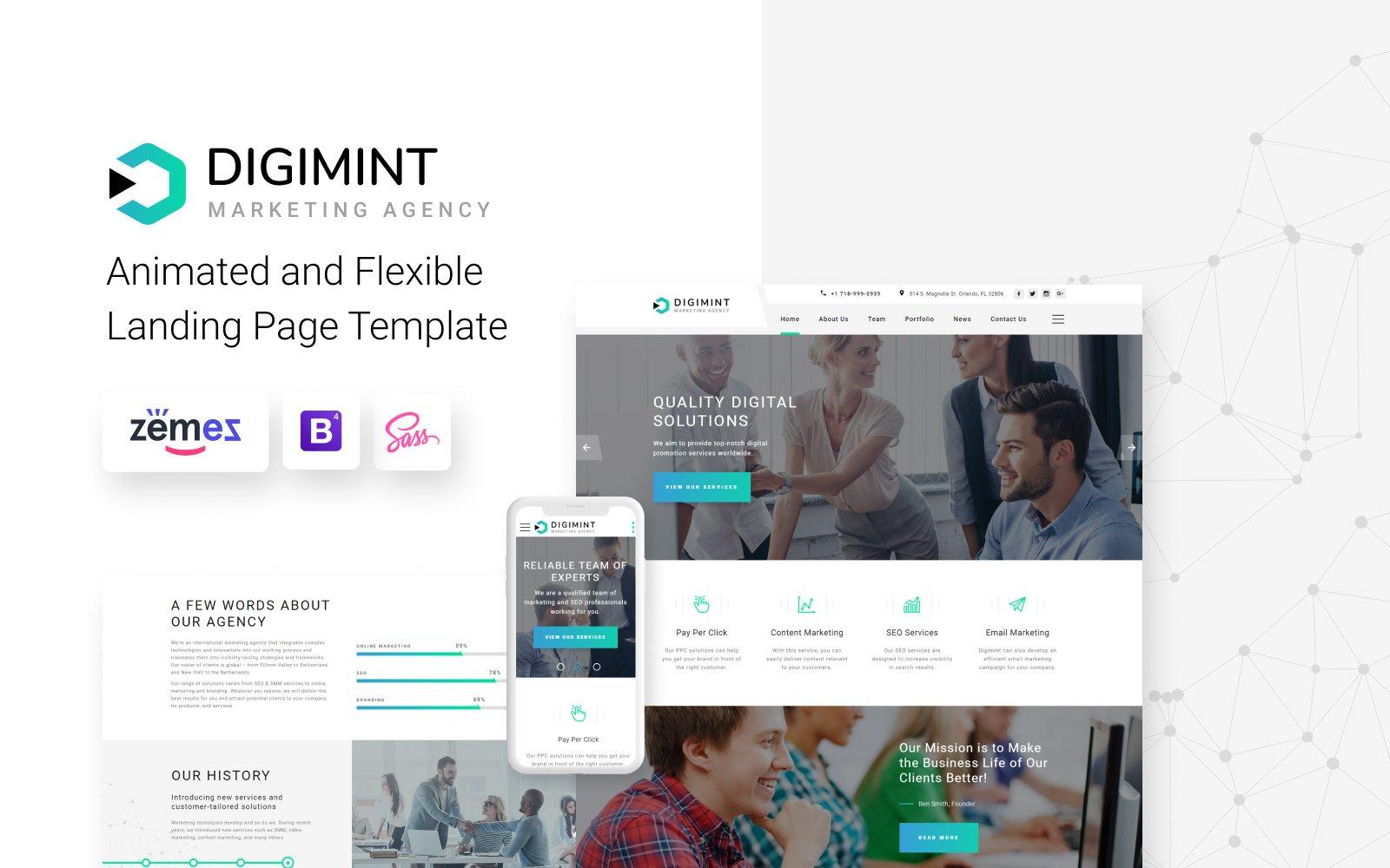 """Digimint - Business Services Clean HTML"" Responsive Landingspagina Template №79341"
