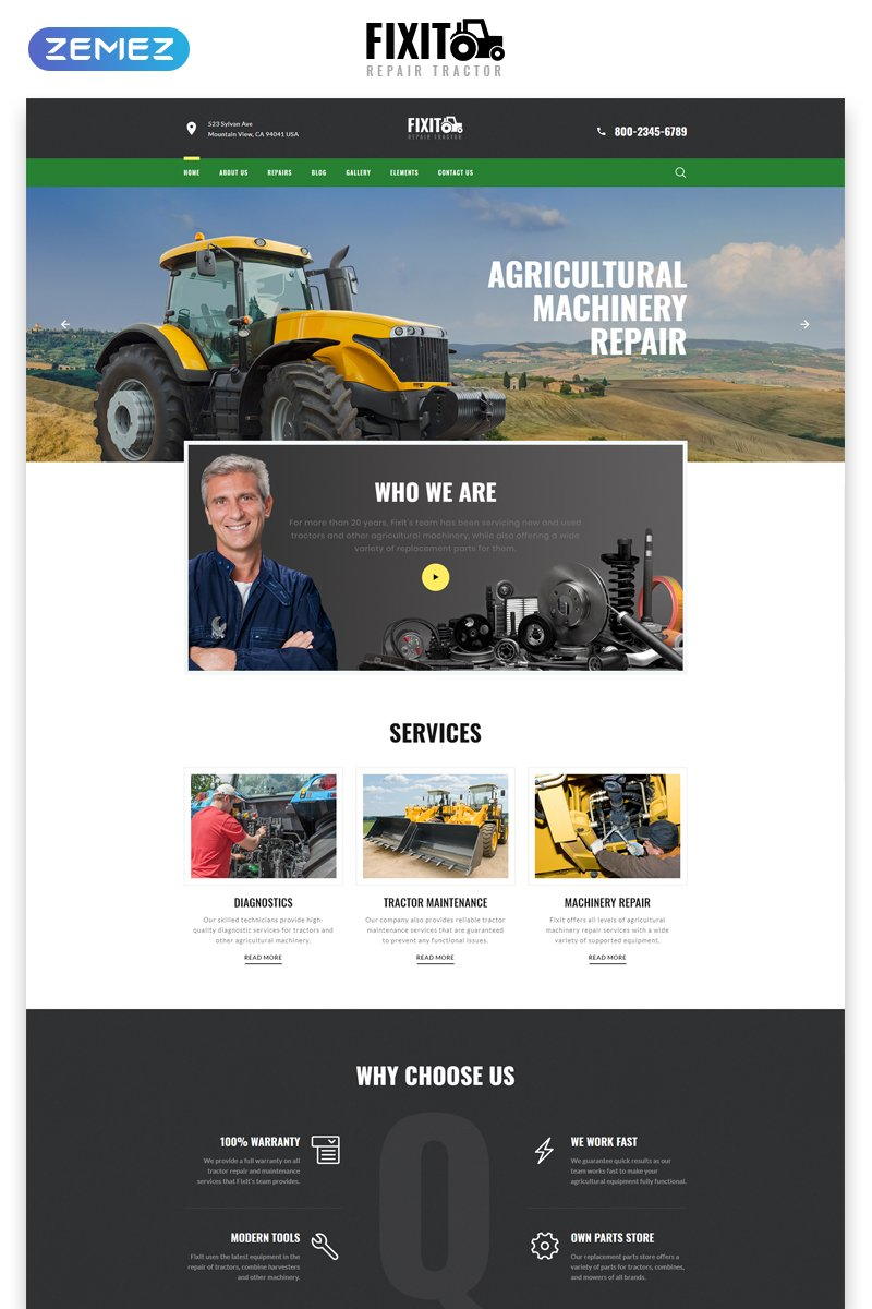 FIXIT - Tractor Repair Multipage Classic HTML №79306