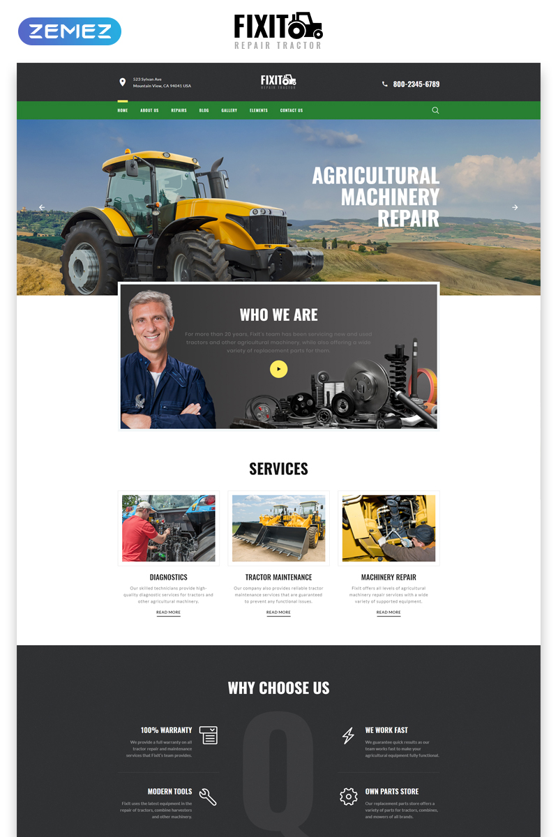 """""""FIXIT - Tractor Repair Multipage Classic HTML"""" 响应式网页模板 #79306"""
