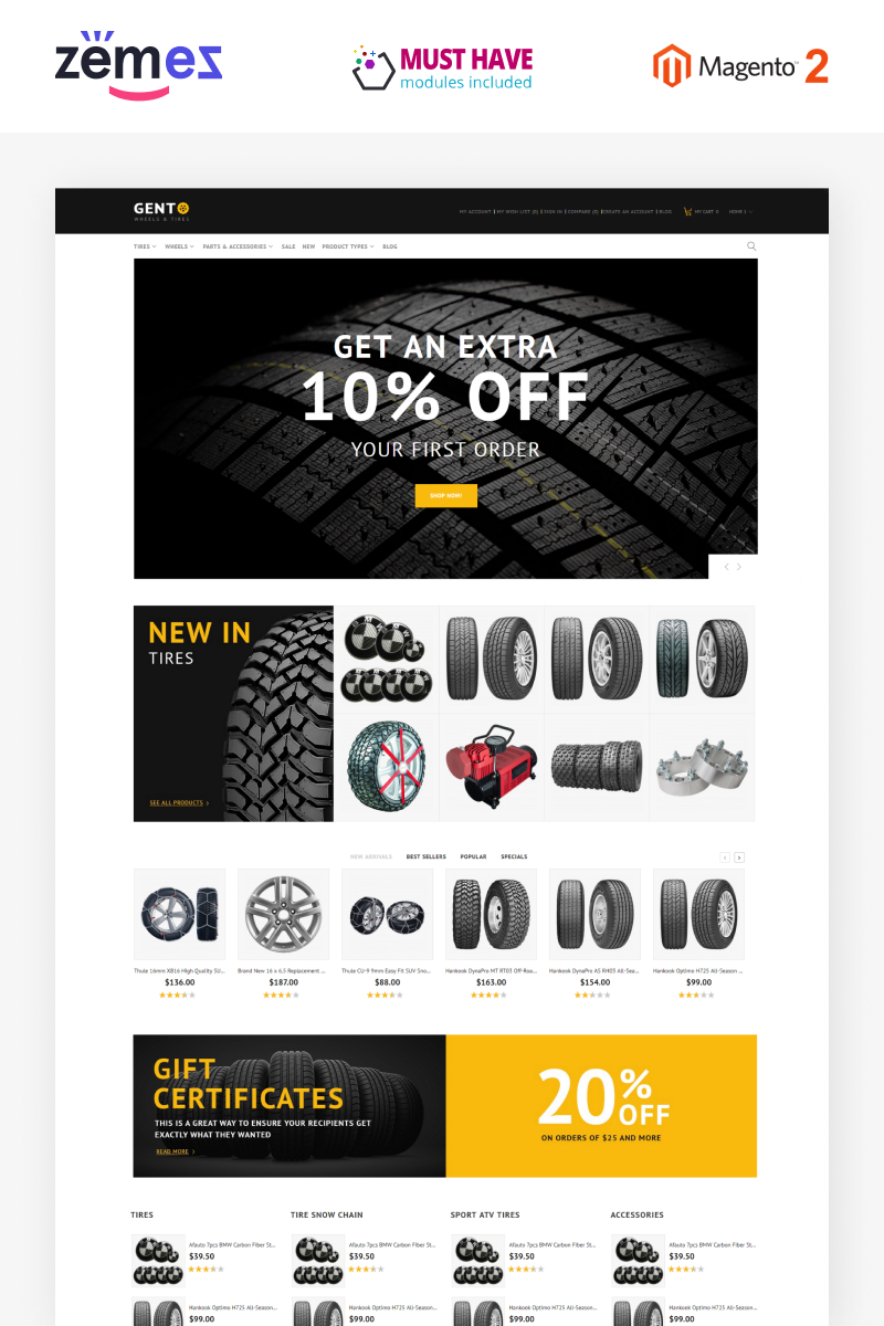 """""""Gento - Clean 3-Layouts eCommerce Wheels & Tires"""" thème Magento  #79336"""