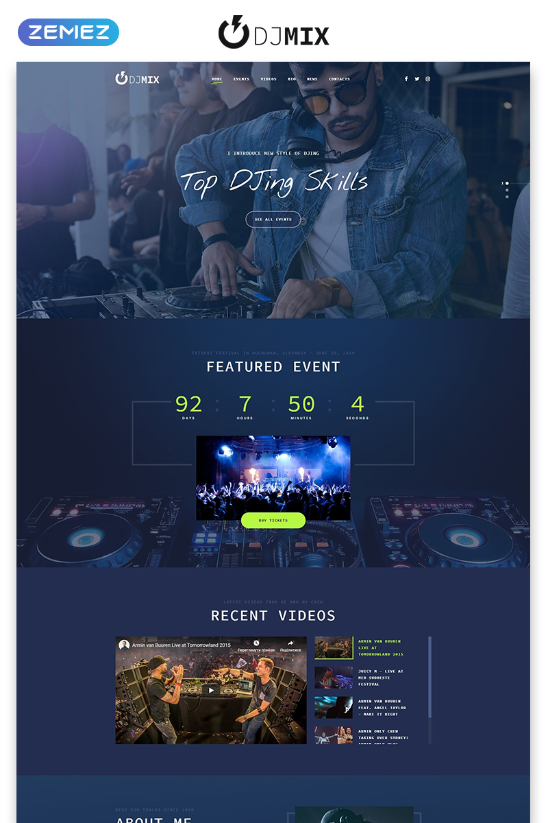 JD Mix - Music Festival Creative HTML Bootstrap Landing Page Template
