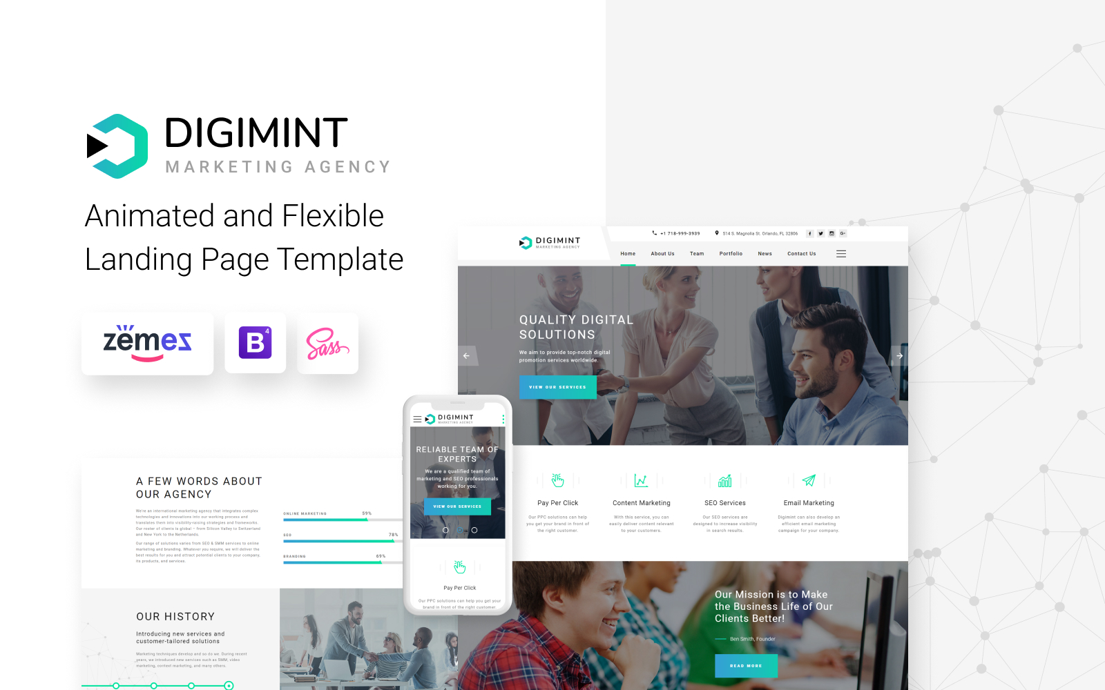 """Landing Page Template namens """"Digimint - Business Services Clean HTML"""" #79341"""