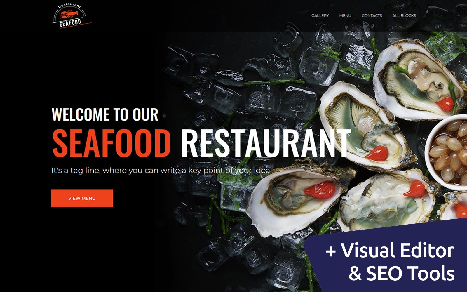 """Landing Page Template namens """"Seafood - Restaurant"""" #79399"""