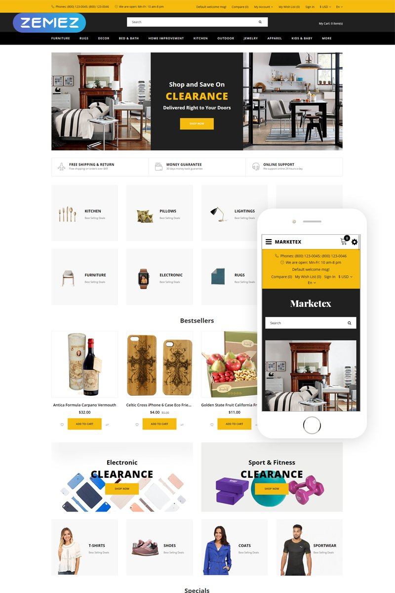 """Modello OpenCart Responsive #79313 """"Markets - Wholesale Ready-to-Use Modern"""""""