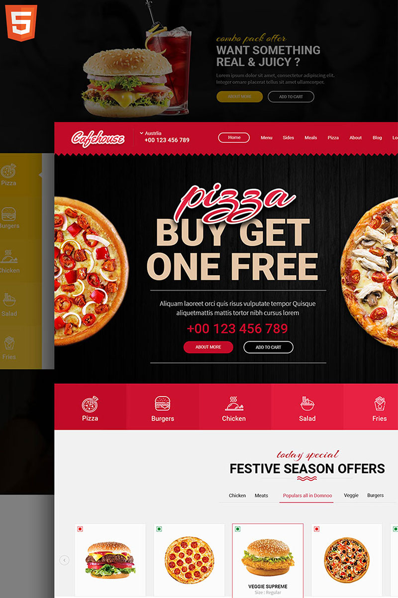 Responsive Cafe House - Restaurant & Pizza Web Sitesi #79355