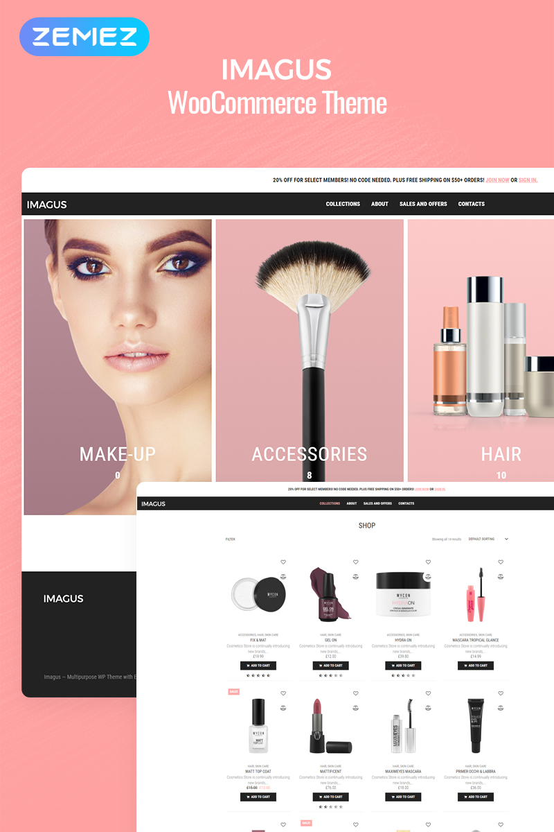 Responsywny motyw WooCommerce Imagus - Cosmetics Store ECommerce Modern Elementor #79339
