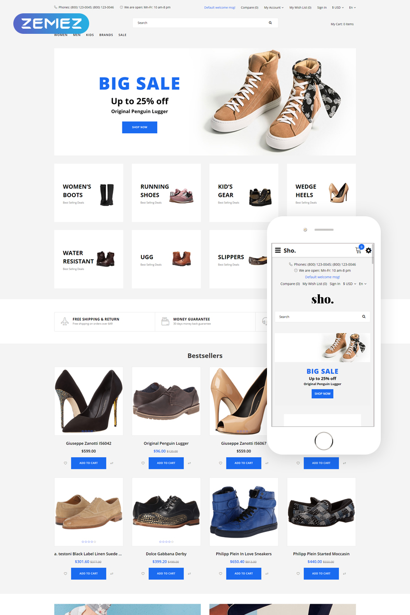 Sho. - Shoe Store E-Commerce Clean OpenCart Template