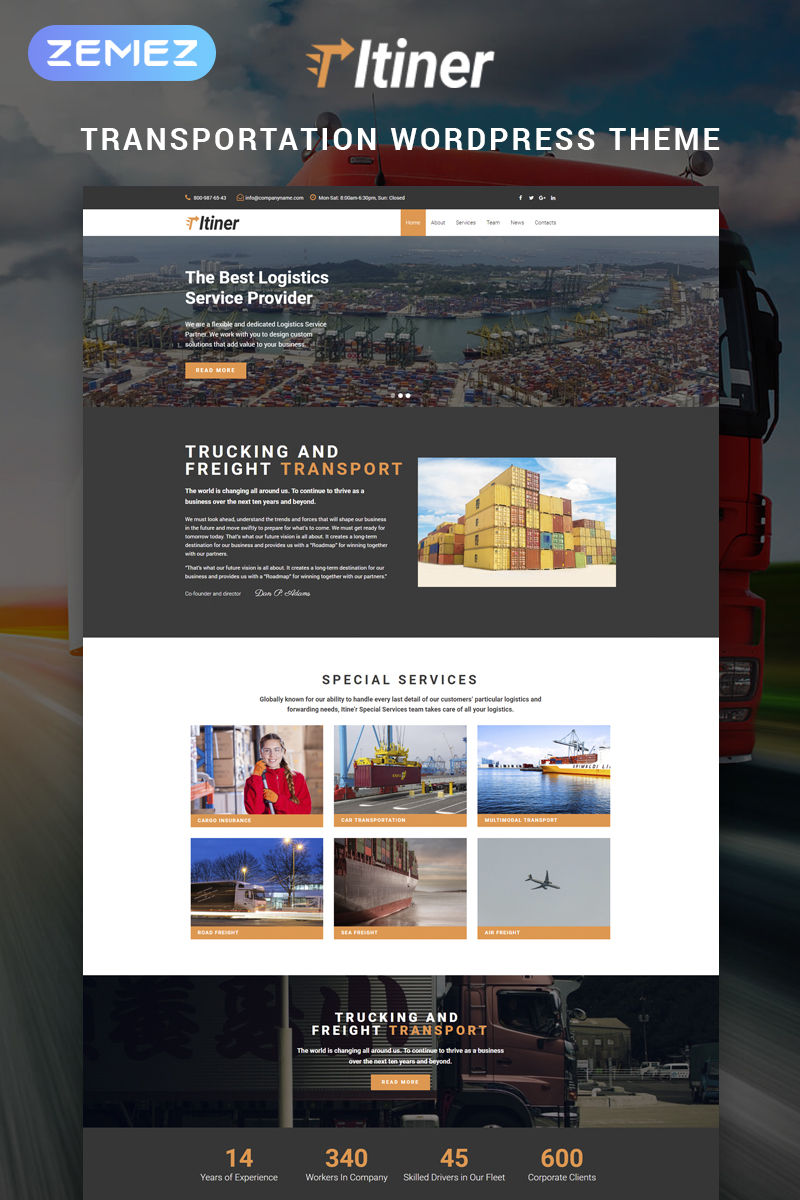 "Tema De WordPress ""Itiner - Transportation Multipurpose Minimal Elementor"" #79350"