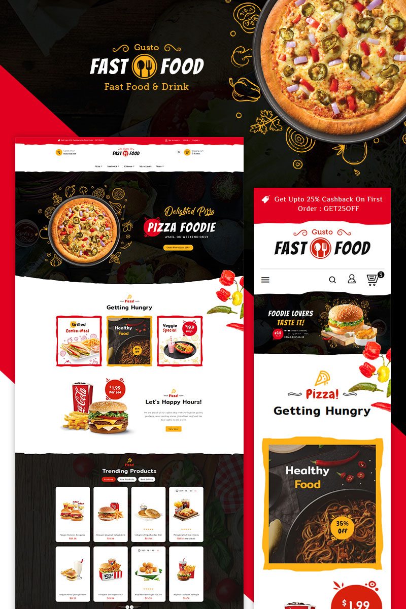 "Tema PrestaShop Responsive #79302 ""Fast Food"""
