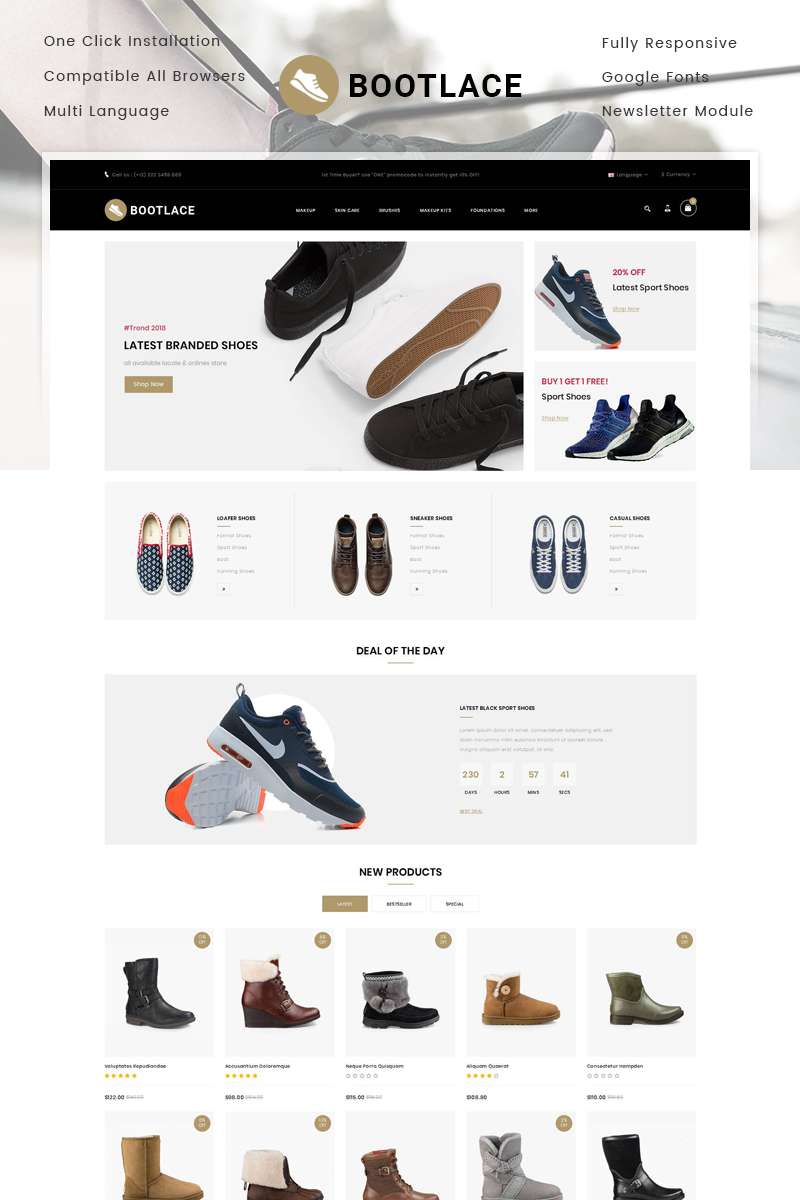 Bootlace Shoes Store OpenCart Template - screenshot