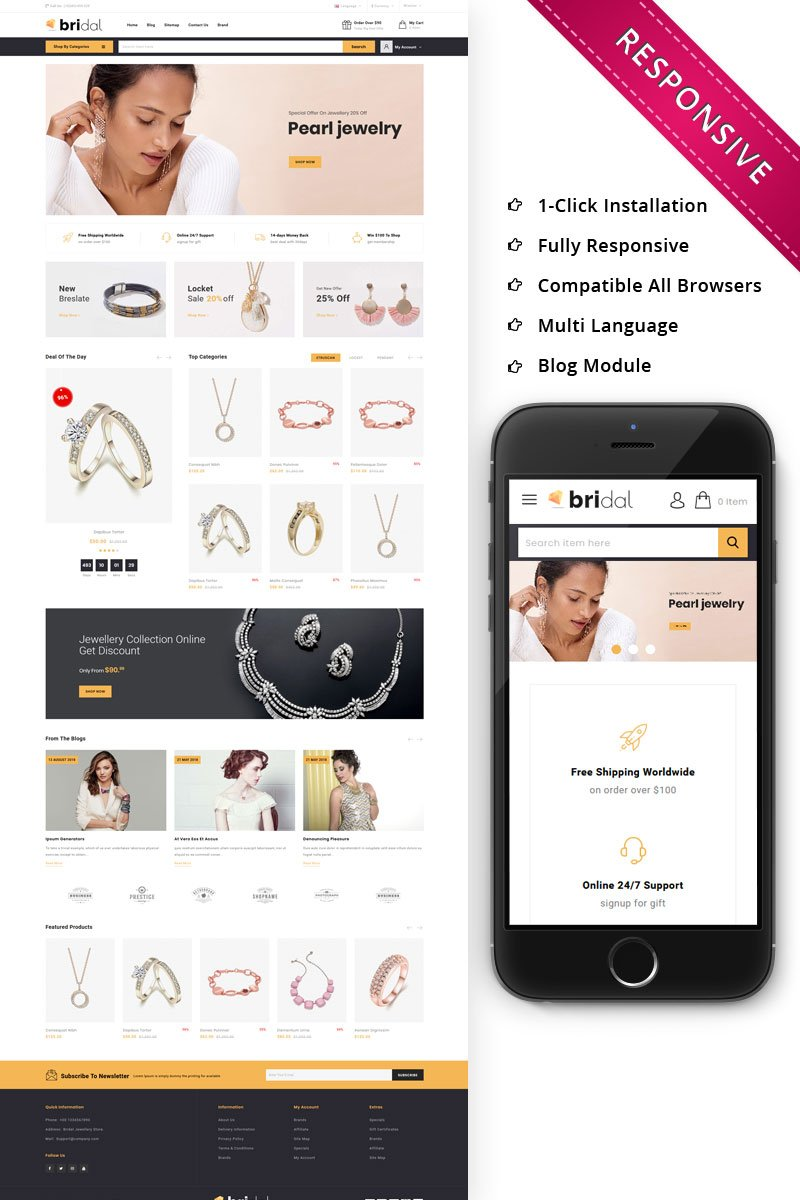 """Bridal - The Jewellery Store Responsive"" thème OpenCart adaptatif #79487"