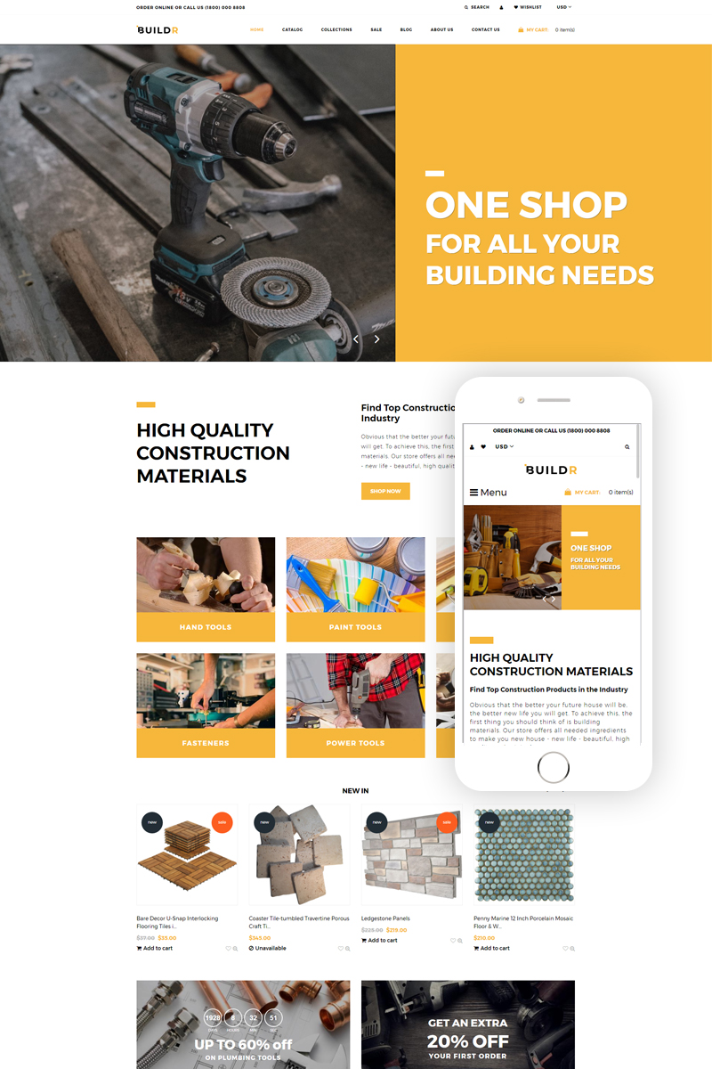 BUILDR - Construction Company eCommerce Creative №79484