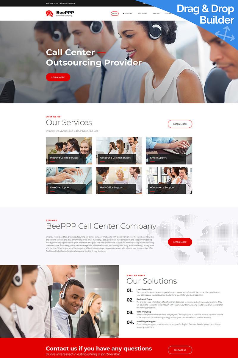 """Call Center Company"" modèle Moto CMS 3 adaptatif #79488"