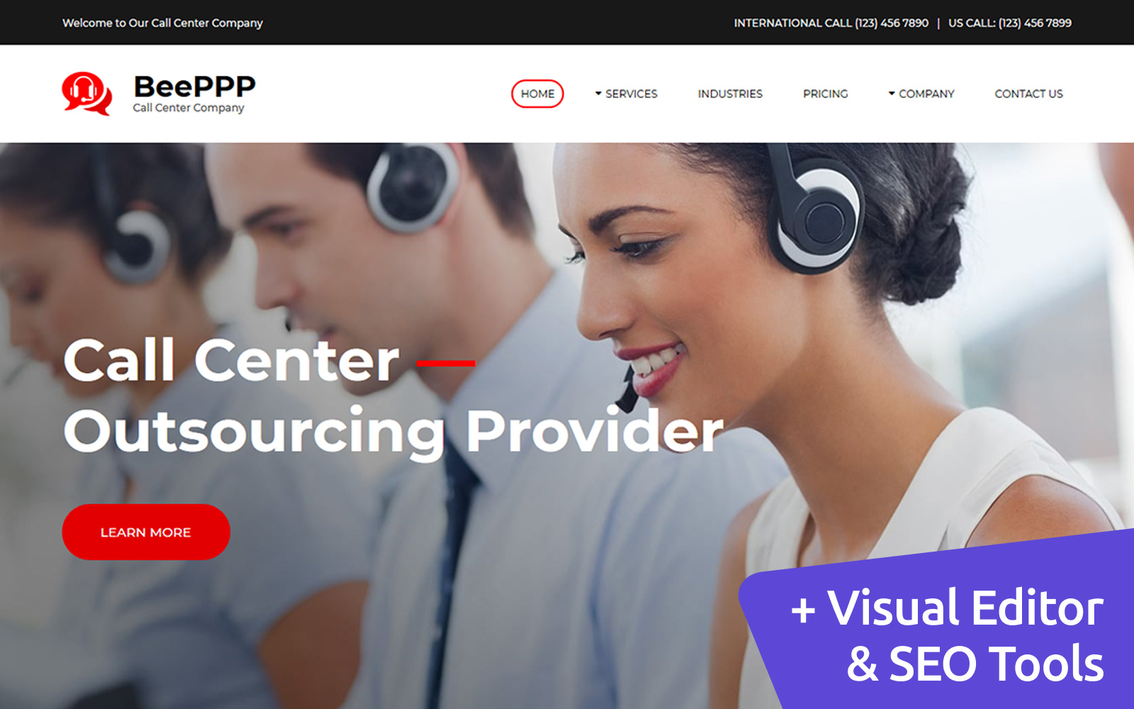 Call Center Company Moto CMS 3 Template