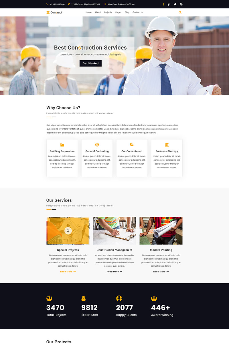 Construct | Construction PSD Template