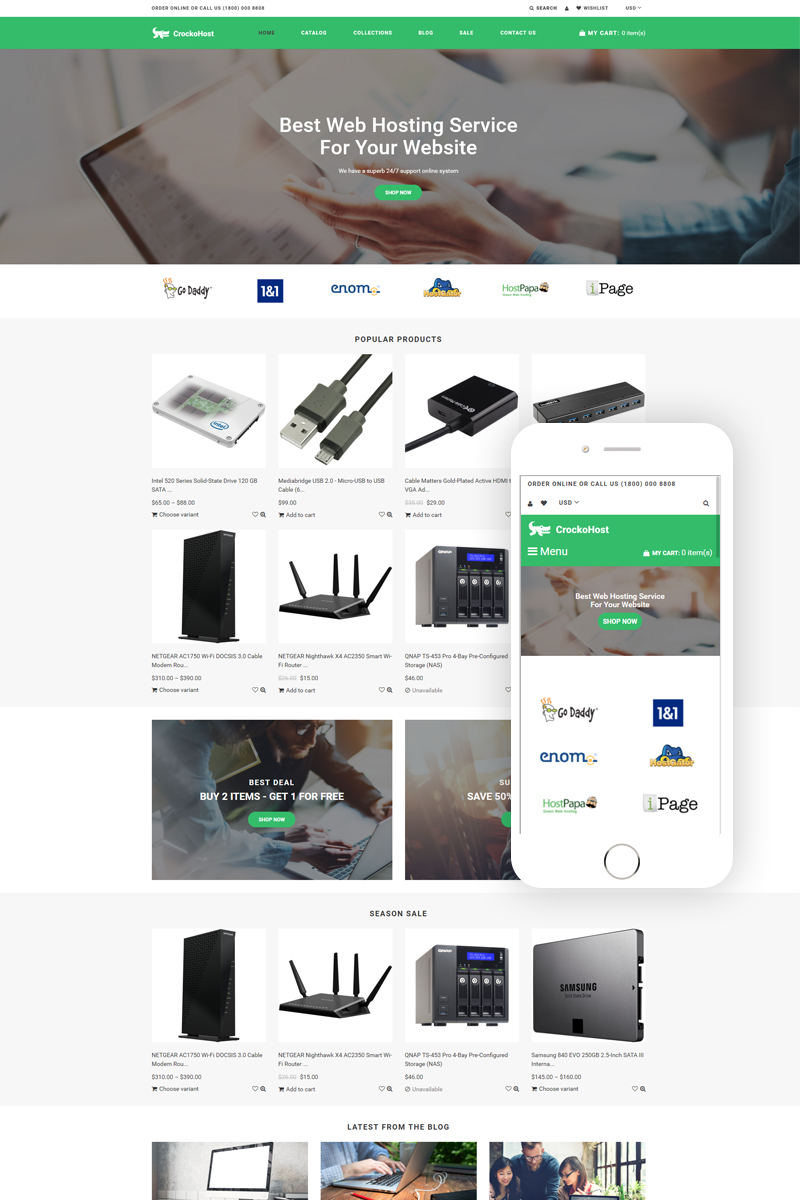 """Crocko Host - Hosting E-commerce Clean"" - адаптивний Shopify шаблон №79420"