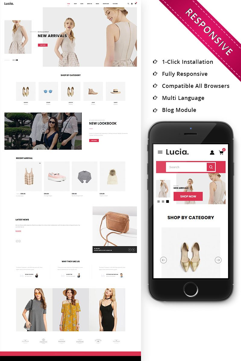 """Lucia - The Fashion Store Responsive"" thème WooCommerce adaptatif #79439 - screenshot"