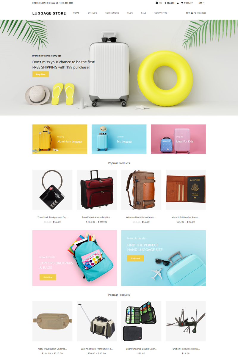 Luggage store - Travel Store eCommerce Modern Shopify Theme - screenshot