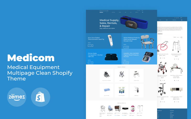 """Medicom - Medical Equipment Multipage Clean"" Responsive Shopify Thema №79483"