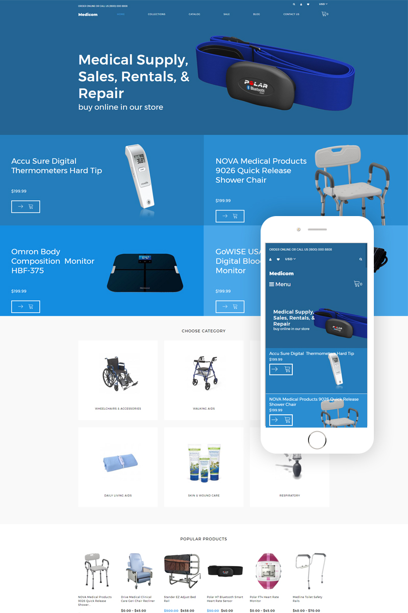 """Medicom - Medical Equipment Multipage Clean"" 响应式Shopify模板 #79483"