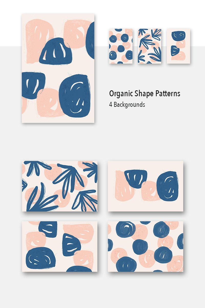 4 Organic Shape Awesome Backgrounds Pattern №79477