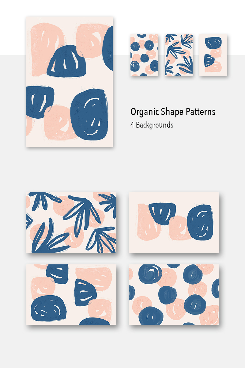 """4 Organic Shape Awesome Backgrounds"" Pattern №79477"