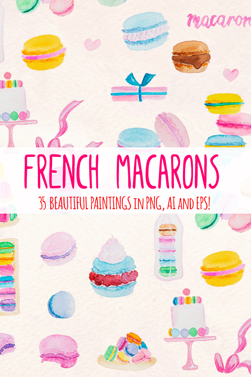 35 Pretty French Macarons Illustration - screenshot