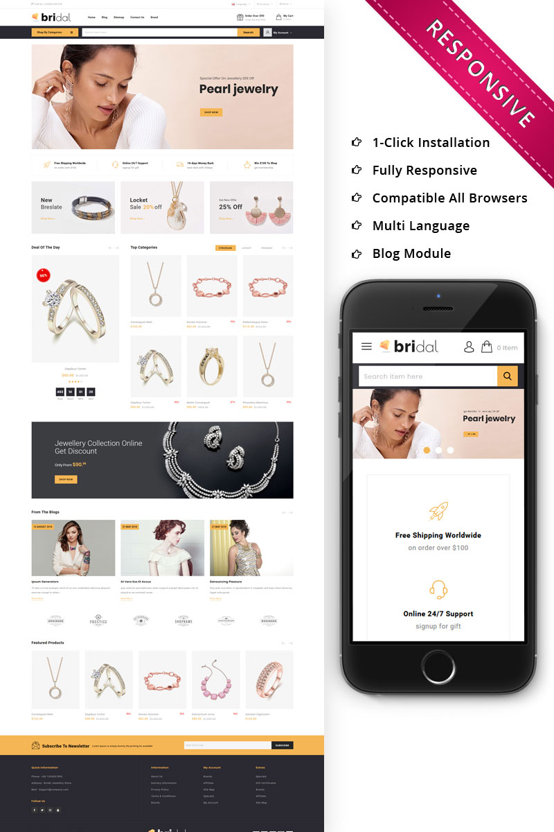 Responsive Bridal - The Jewellery Store Responsive Opencart #79487