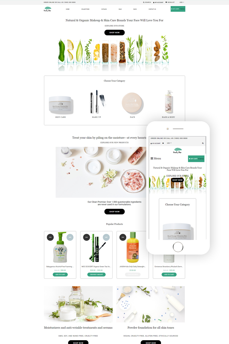 Responsivt Beauty Shop - Cosmetics Store Multipage Modern Shopify-tema #79422