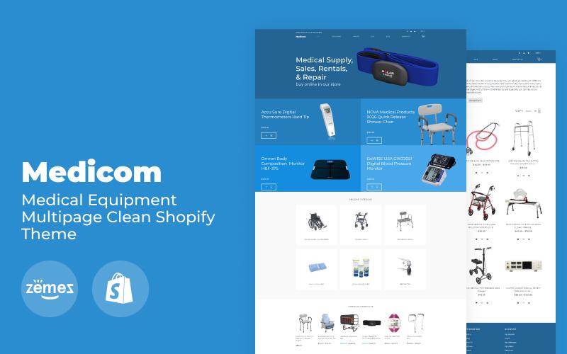 Responsywny szablon Shopify Medicom - Medical Equipment Multipage Clean #79483