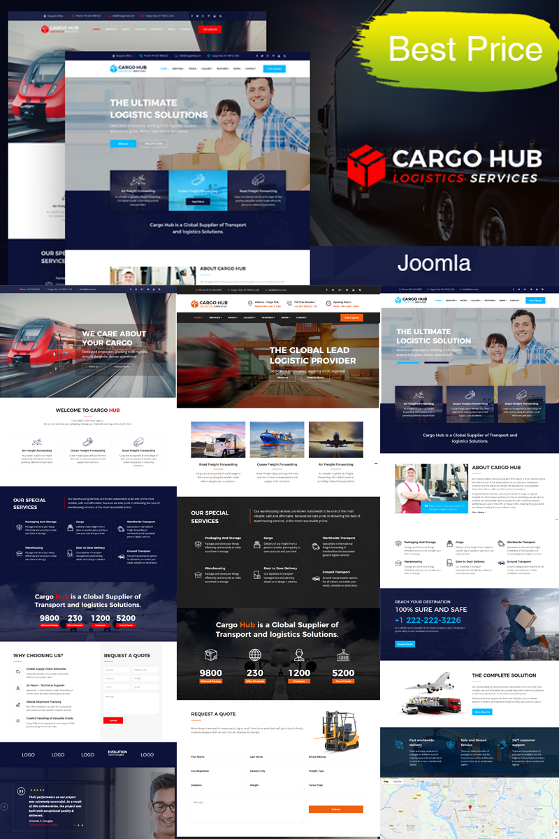 Reszponzív Cargo HUB - Transportation, Logistics and Shipping Joomla sablon 79431