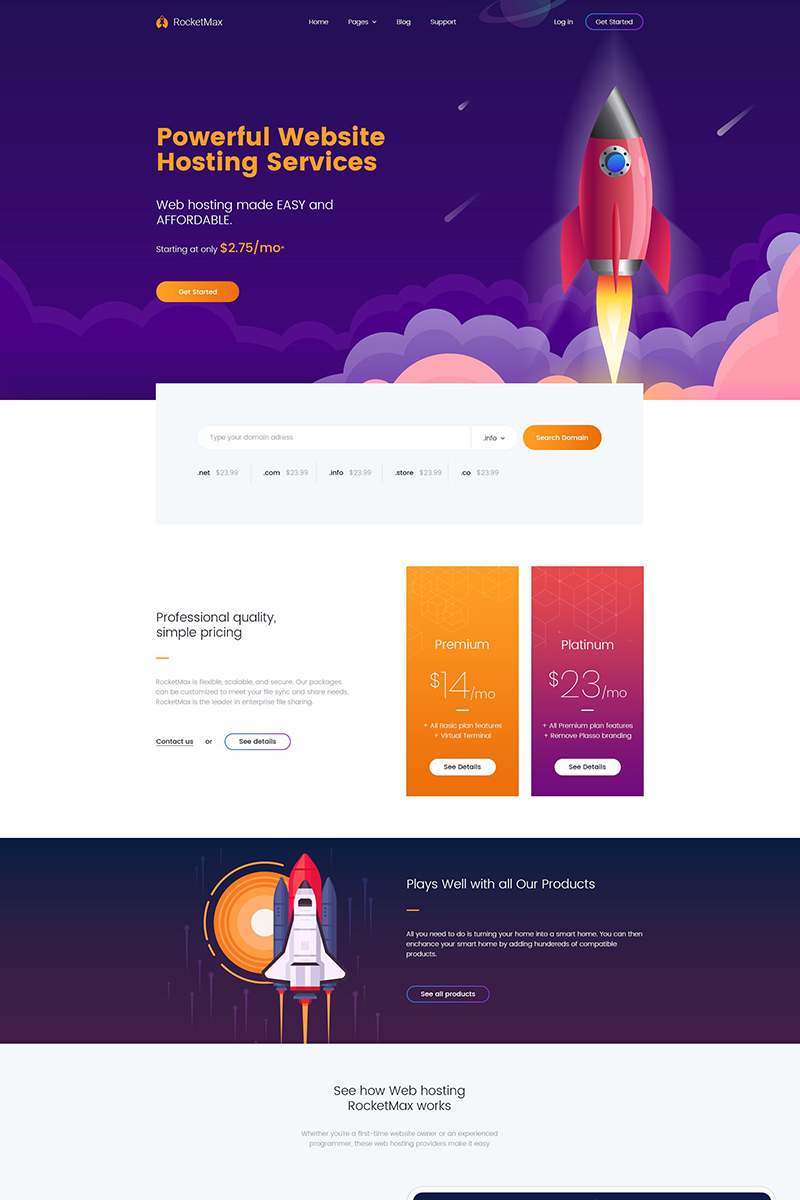 Rocketmax - Responsive Web Hosting Service Website Template