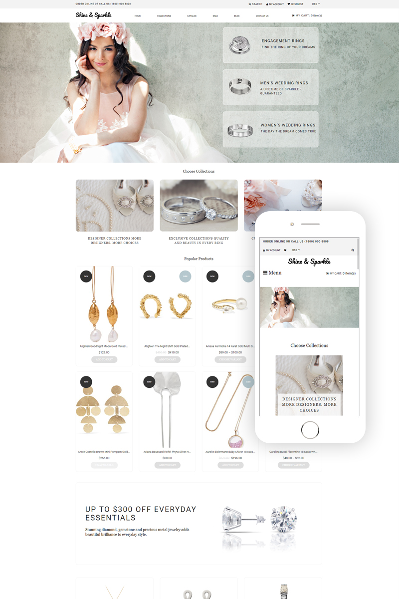 """Shine & Sparkle - Jewelry Multipage Stylish"" Responsive Shopify Thema №79421"