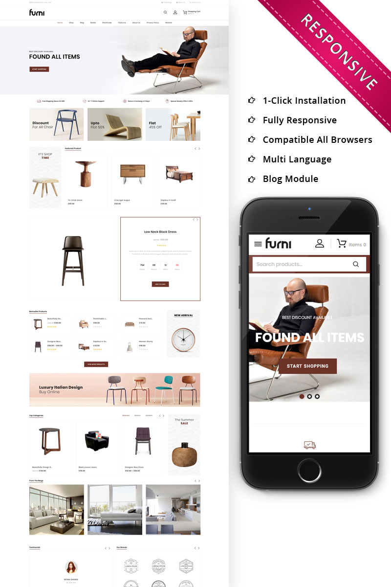 "Tema WooCommerce ""Furni - The Furniture Store Responsive"" #79404"