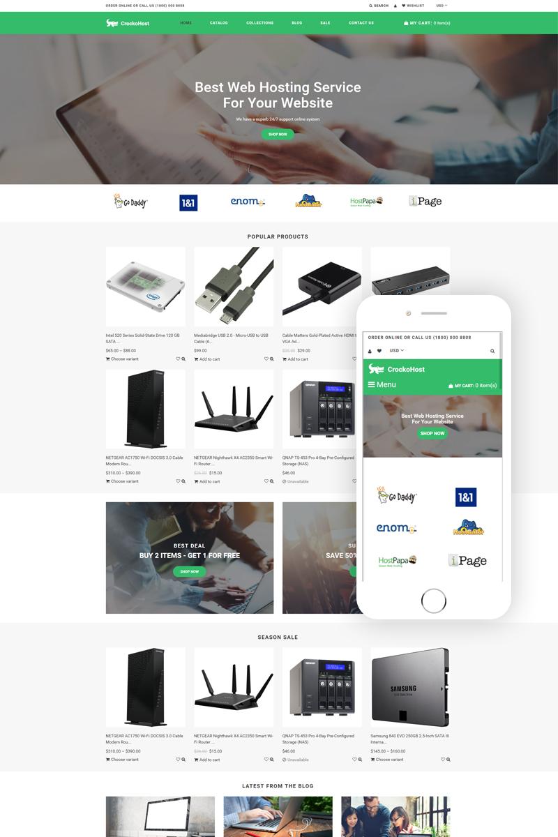"Template Shopify Responsive #79420 ""Crocko Host - Hosting E-commerce Clean"" - screenshot"