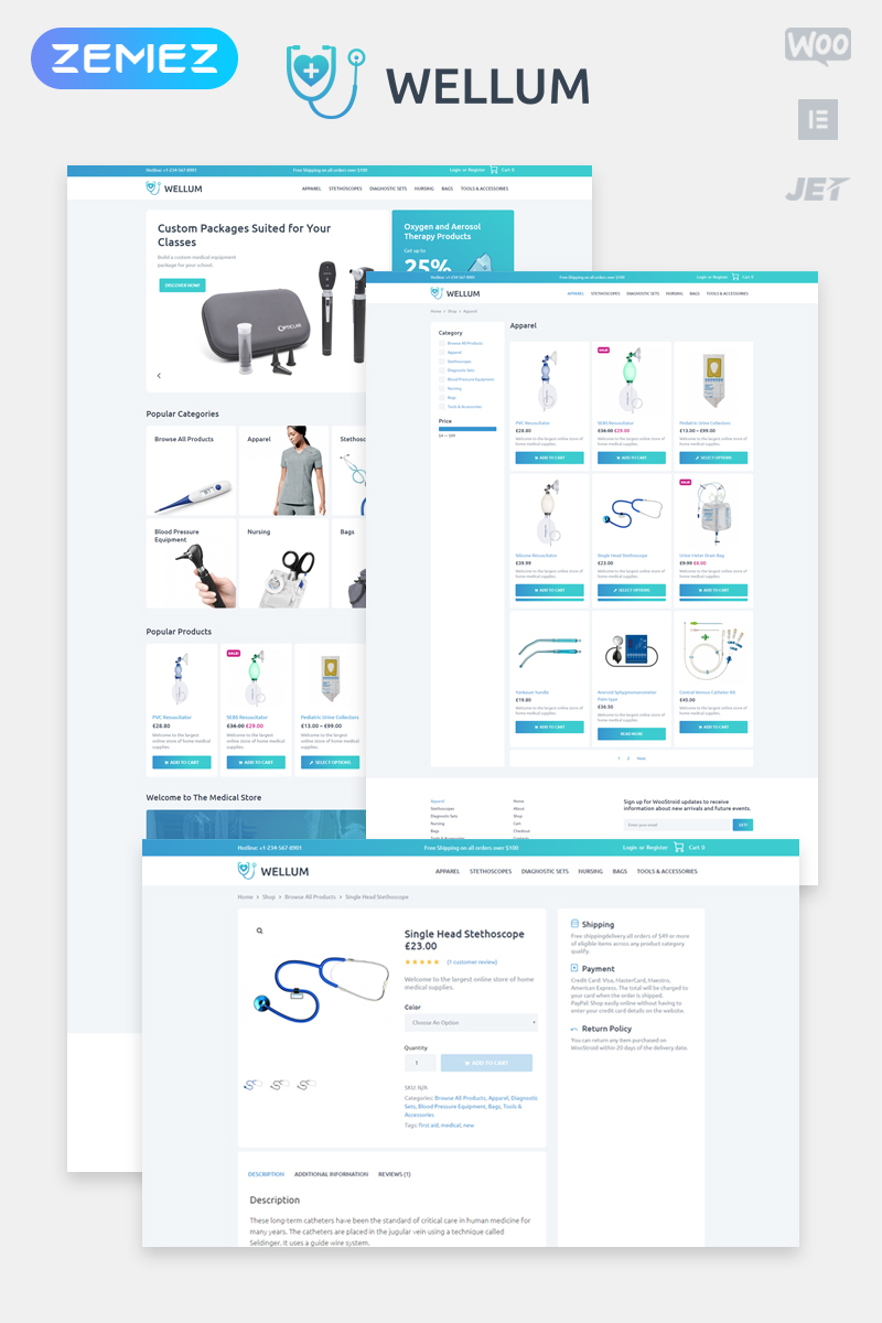 Wellum - Medical ECommerce Classic Elementor WooCommerce Theme