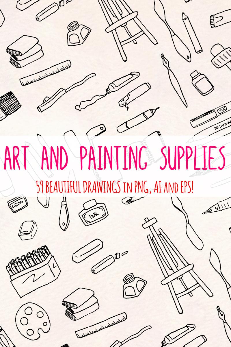 59 Art and Painting Supplies - Art Themed Vector Elements Açıklamalar #79588