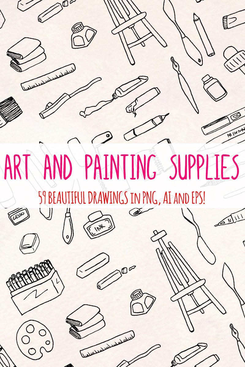 59 Art and Painting Supplies - Art Themed Vector Elements Illustration #79588
