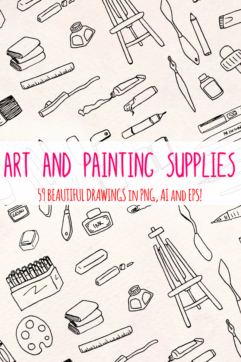 59 Art and Painting Supplies - Art Themed Vector Elements Illustration