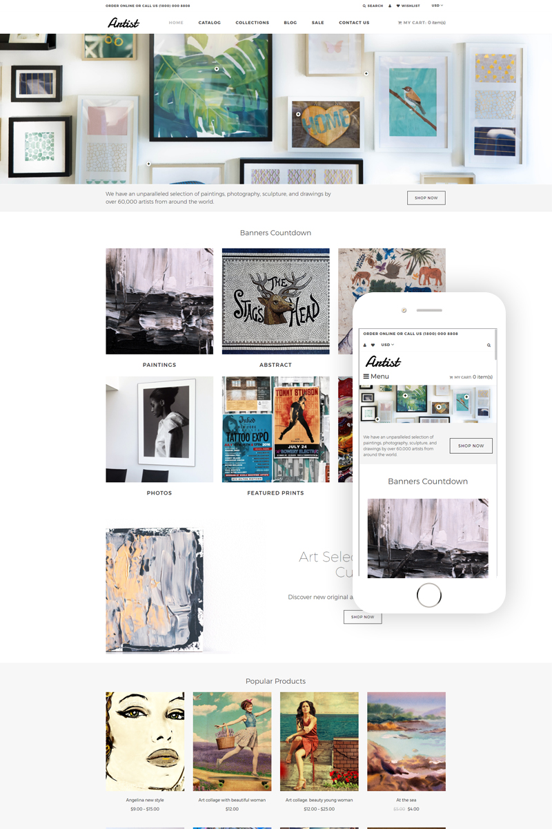 """Artist - Art Gallery eCommerce Clean Shopify Theme"" Responsive Shopify Thema №79524"