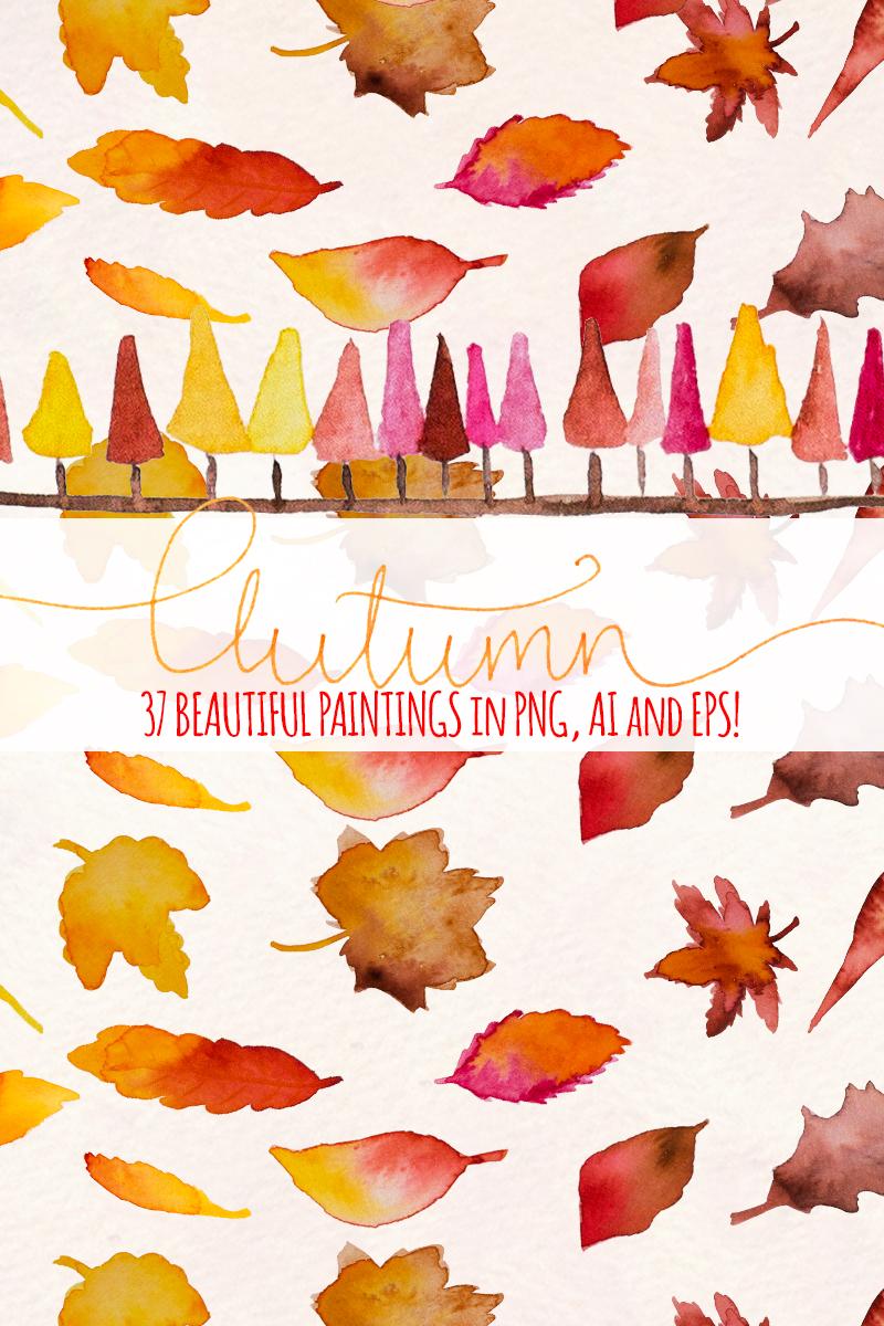 """""""37 Autumn Seasonal Watercolor"""" illustration  #79590"""