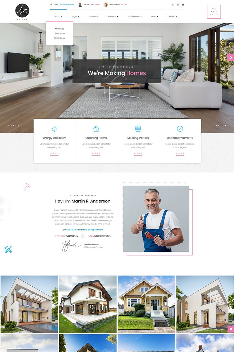 """AZhomes - Local Home Builders"" Responsive Website template №79547"