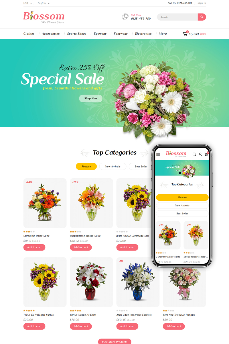 """Blossom - Flower & Gifts Shop"" PrestaShop Thema №79534"