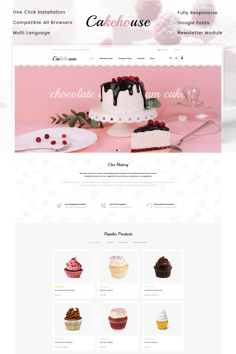 Cakehouse - Cake Store OpenCart Template